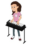 Cartoon girl with keyboard